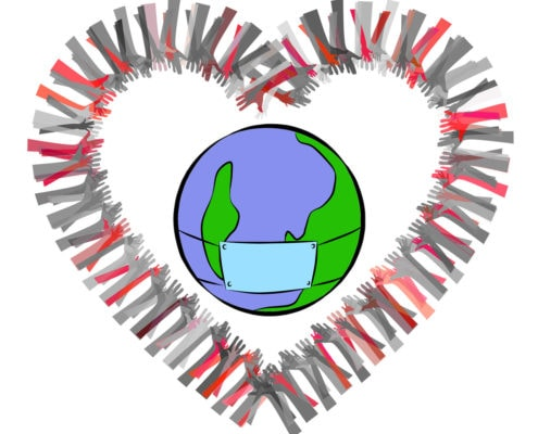 mani a cuore intorno al mondo