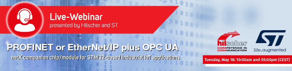 """banner webinar """"Real-Time Ethernet (PROFINET / EtherNet/IP) + OPC UA"""""""
